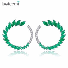 LUOTEEMI Stud Earring Cubic Zircon Round Whirlwind Shape Double Color Choose Popular Prevalent Fashionable Bijoux Party