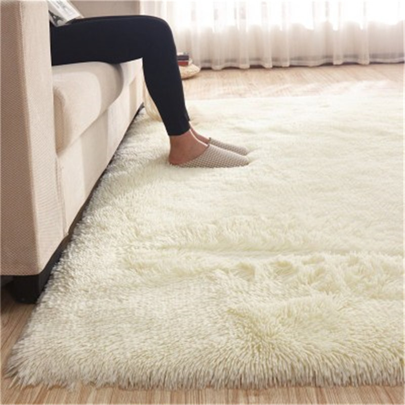 Living Room Coffee Table Silk Floor Mat  Rectangular Long Hair Carpet Living Room Coffee Table Rug Bedroom Bed Thick Blanket