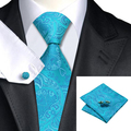 2016 Fashion Blue Paisley Tie+Hanky+Cufflinks 100% Silk Necktie Ties For Men Formal Business Wedding Party C-368