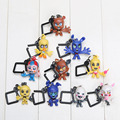 10pcs/set 6cm FNAF Key Chain Five Nights at Freddy's Clip Key Ring Characters Puppet Golden Freddy Balloon Mangle figure toys