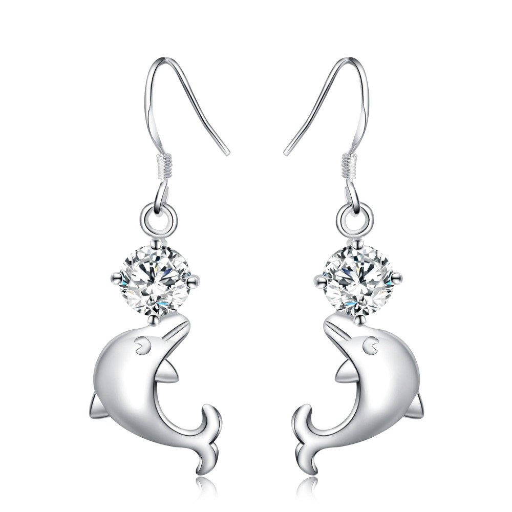 Wholesale NEW ARRIVE gift silver earring jewelry beauty dolphin white crystal white for women Lady retro wedding best gift E270