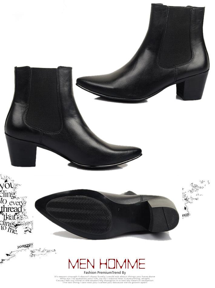 US $75.93 10% OFF|HOT!!! Echtes Leder Herren Spitz Hohe Ferse Schuhe Reitstiefel Winter ankle Stiefel Erhöhen Schuhe in Chelsea Boots aus Schuhe bei