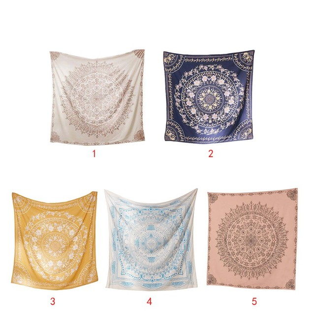 Square Shape Mandala Theme Wall Decor Tapestry Printed Polyester Fabric  Wall Hanging Decor Mural For Bedroom