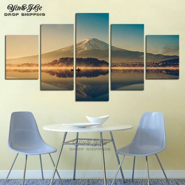 Art Paintings HD Print Decor Wall 5 Pieces Mount Fuji Mountain Lake Nature Landscape Modern Canvas Pictures Modular Frame Poster