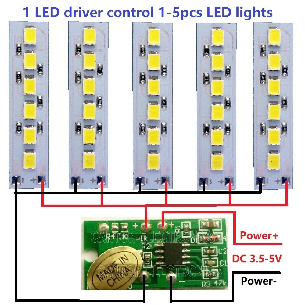 5x DC 3.7V 5V 1.2W White LED light & 1x 3.5 5V 2A Touch ...