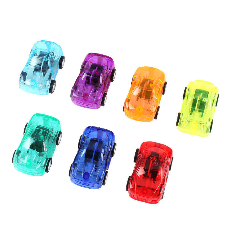 1PC พลาสติกโปร่งใสรถของเล่นดึงกลับวิศวกรรมขนาดเล็กรถของเล่นเด็กของขวัญสีสุ่ม Diecasts ของเล่นยานพาหนะ