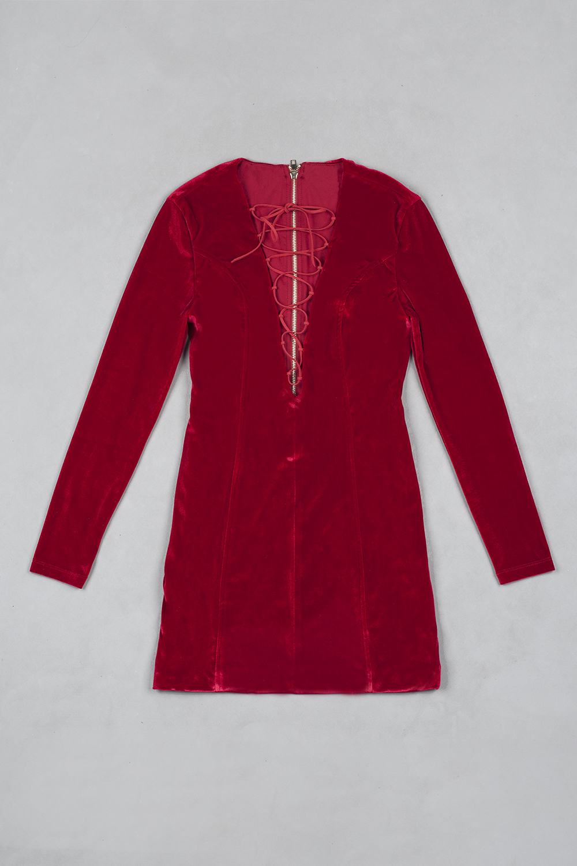 4bf464bda63 2018 Fashion Nova Women s Sheath Burgundy Velvet Lace Up Mini Dress Sexy  Plunging Neckline Long Sleeve Bodycon Party Dresses ...