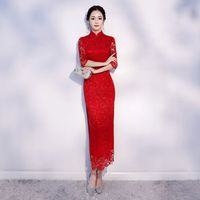 New Arrival Lace Female Red Mandarin Collar Qipao Elegant Chinese Bride Wedding Dress Lady Slim Long Vintage Cheongsam S 2XL