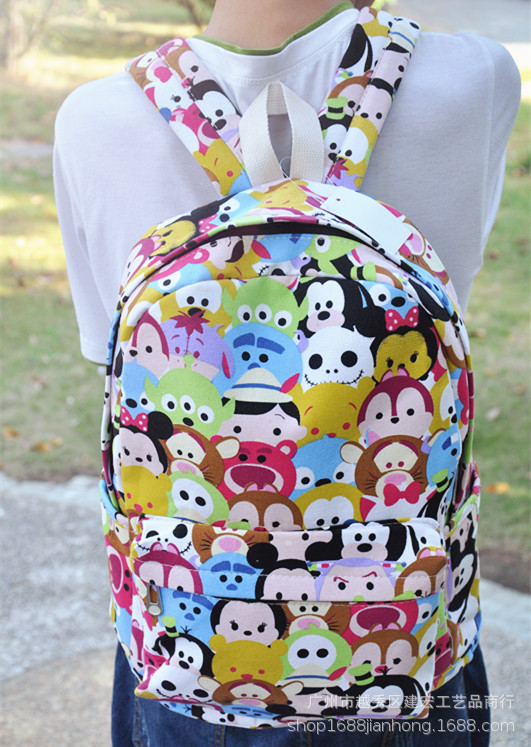 2019 New Disney Cartoon Backpack Tsum Tsum Mickey Mous Primary School Backpack Double-layer Bag Travel Computer Bag