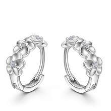 Top Sale 925 Sterling Silver Earring Woven Flowers Shape Hoop Earrings Embed CZ Crystal Pretty Earring For Wedding Accessories