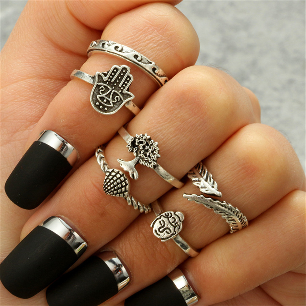 GIVVLLRY Bohemian Life Tree Knuckle Rings for Women Antique Silver Color Fatima Hand Shell Leaf Yoga Vintage Geometric Rings Set