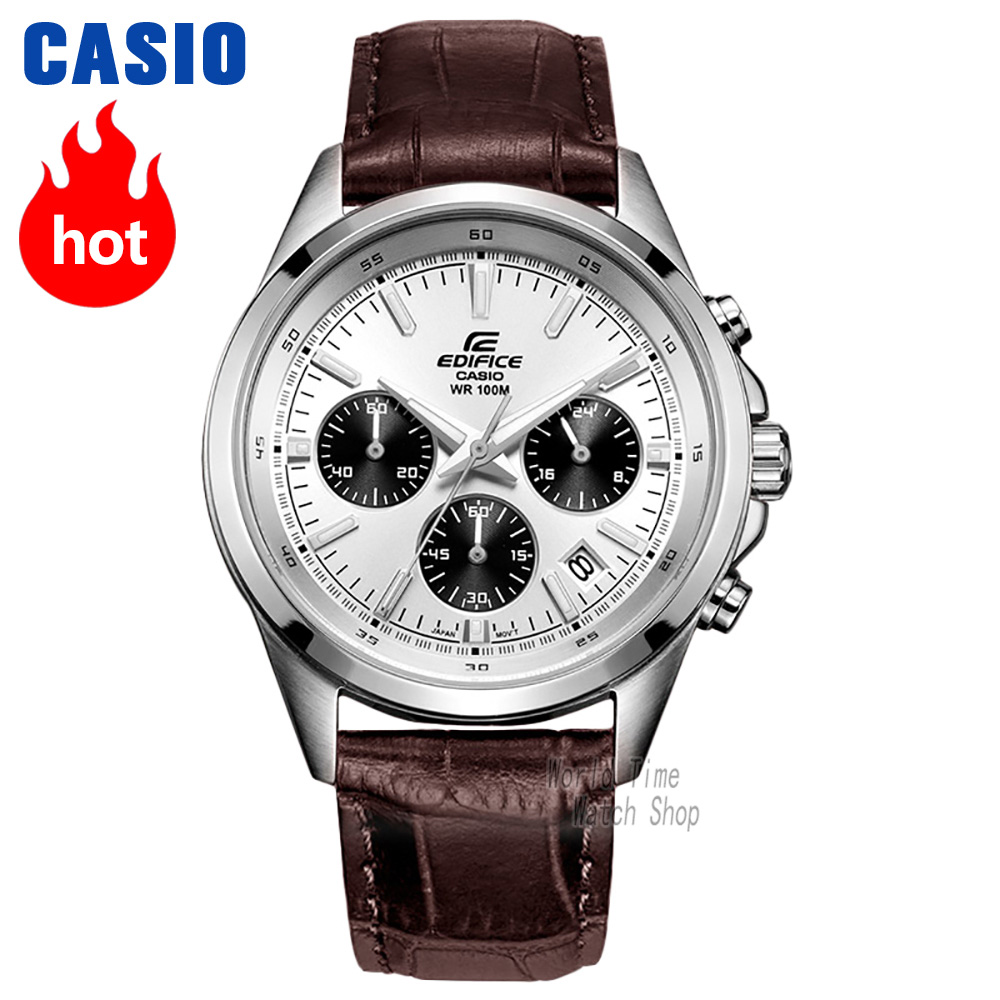 Casio watch Edifice Men s Quartz Sports Watch Leather Strap Steel Belt Fashion Urban Pointer Watch