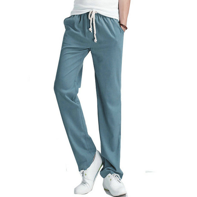 2017 Top Selling Solid Spring Summer Men Linen Pants Trousers Big Size Casual Mens jogger Pants M-5XL (Asian Size)