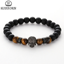 HOBBORN Trendy Natural Stone Beads Bracelet Women Men Silver Gold Micro-inlaid Zircon Skeleton Head Charm Bracelets Punk Jewelry