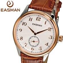 Easman известных марок мужчины новые люди часы золотые наручные часы вокруг дейл коричневый свободного покроя италия кожа для человека сапфир наручные часы