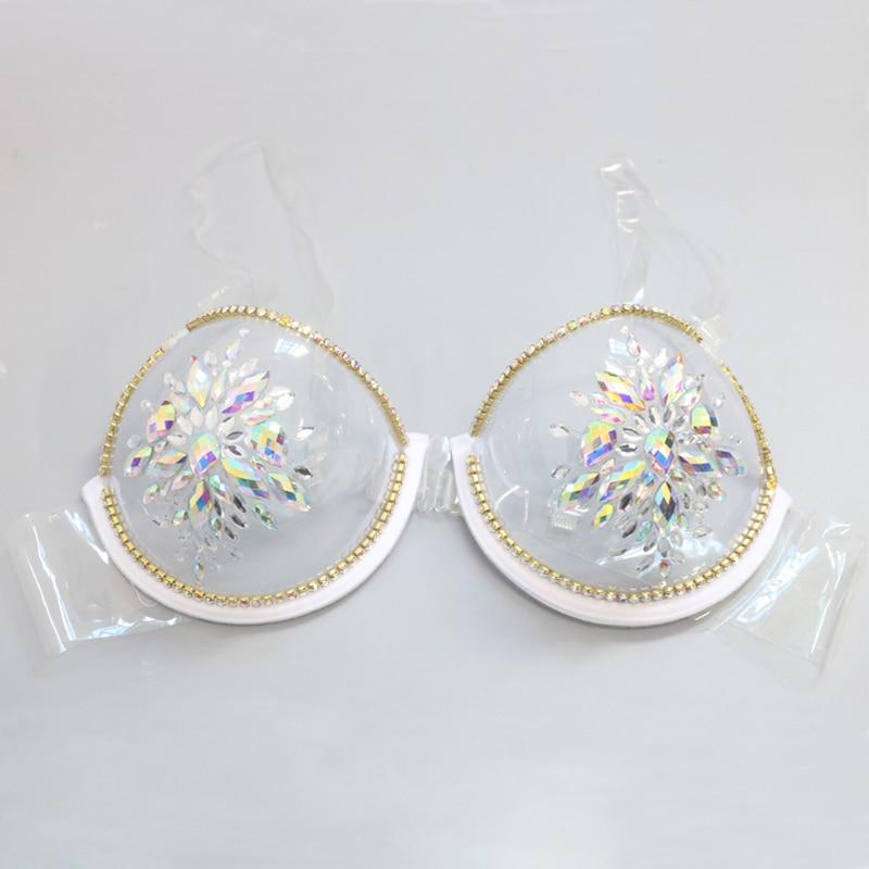 Sexy Women's 3/4 Cup Diamond Underwear Sexy Clear Transparent Bra Push Up Bralette Lingerie Sous Vetement Soutien Gorge