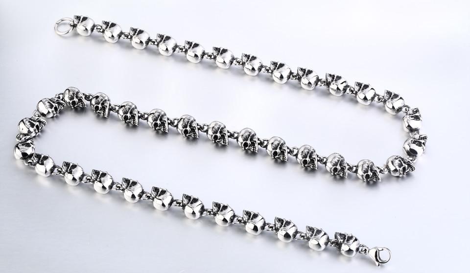 colar de aço inoxidável alta qualidade personalidade crânio jóias