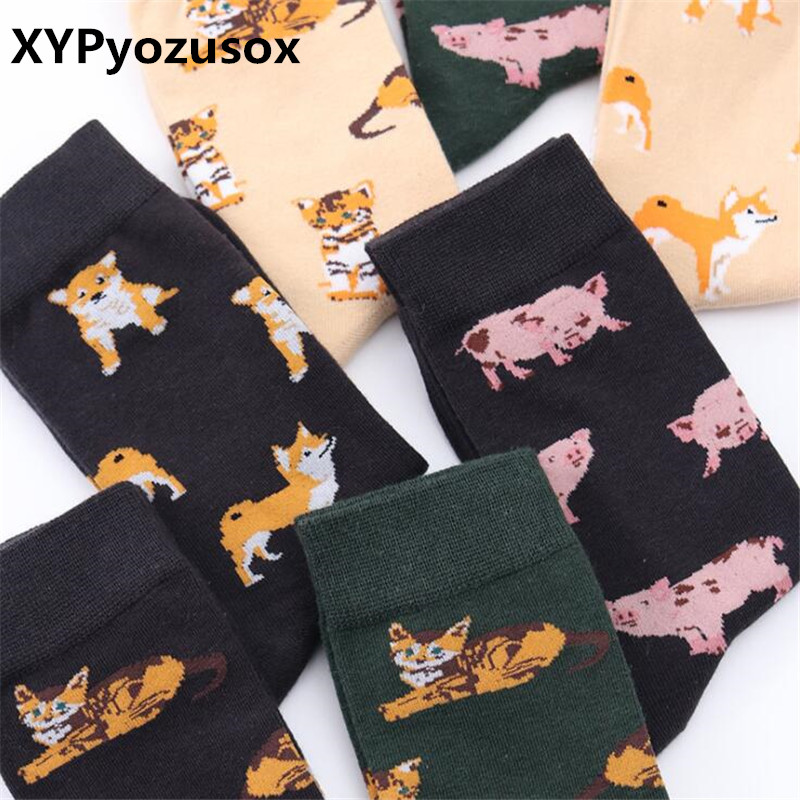 1 Pair New Harajuku Socks Cute Cartoon Pug Schnauzer Women Cotton Winter Warm Socks Female Women Girl Funny Socks Calcetines
