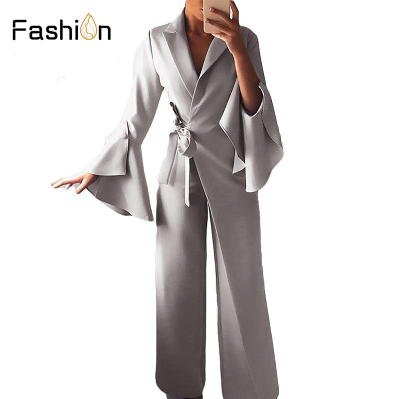 Women Waist Belted   Jumpsuit   Long Sleeve Rompers Wide Leg Pants Highstreet Ladies Autumn Elegant Workwear   Jumpsuits   Harajuku