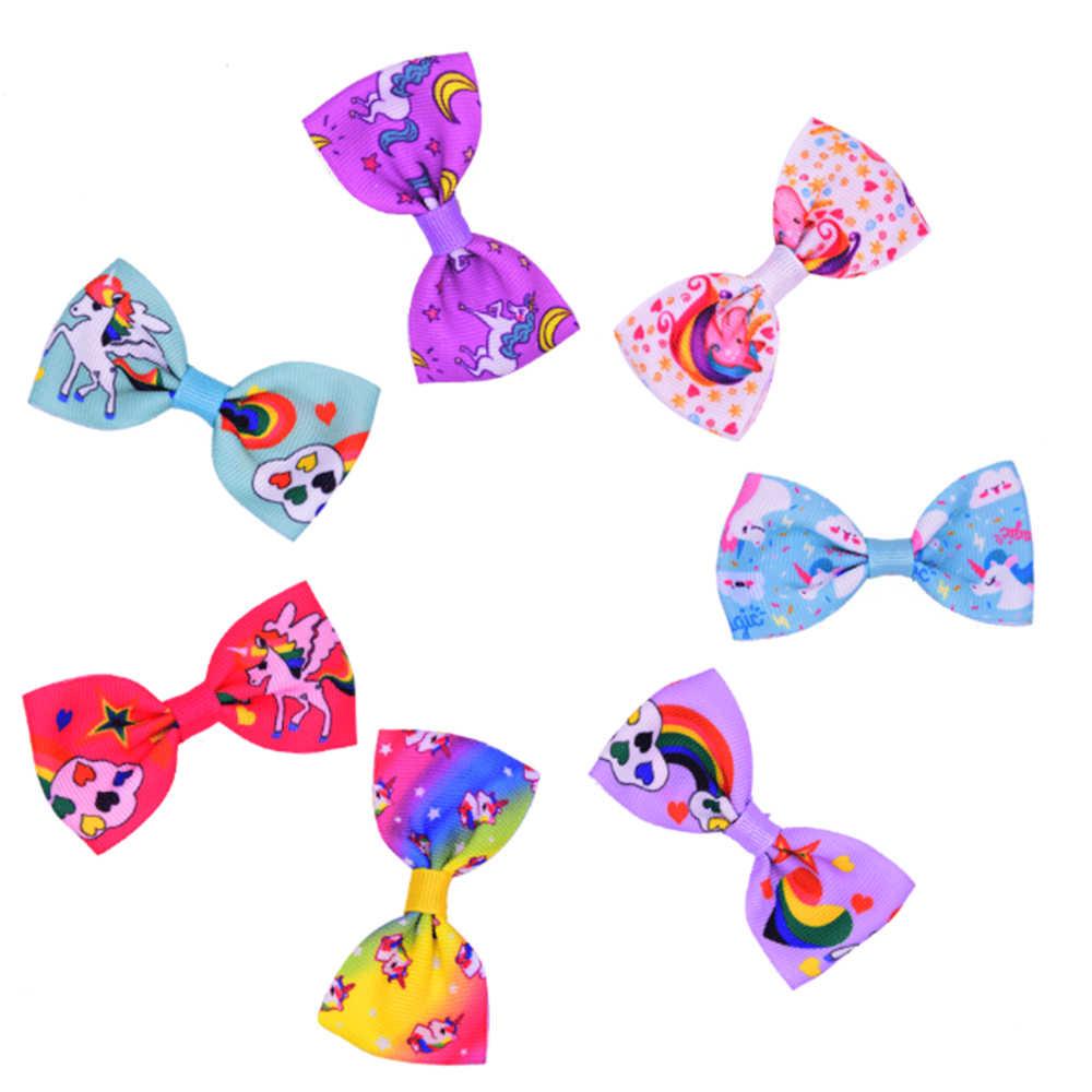 Colorful Bow Hair Pins Hair Barrettes Children Accessories Cute Baby Girls Headwear Cartoon Unicorn Hair Clip