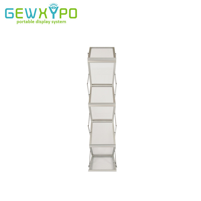 Trade Show Booth A4 Folding Acrylic Display Brochure Stand With Hard Case Exhibition Literature Holder Portable Catalog Rack