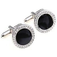 Cufflinks Retail Black Luxury Full Rhinestone Crystal Circle Cufflinks Nail Sleeve 156006 Free Shipping Free Gift
