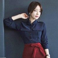 Office Lady Women Blouse Chiffon Simple Design Navy Blue Shirts Female Blusas Women Tops 2017 Latest
