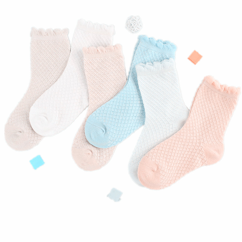 6 Pairs/lot Girls Cute Socks Candy Color Kids Flower Princess Pure Cotton Thin Hosiery In 3,4,5,6,7,8,9,10 Years Old