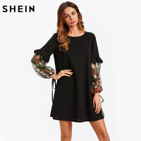 SHEIN Contrast Embroidery Mesh Tied Sleeve Frill Detail Dress Black Long Sleeve Straight Fall Dresses 2017