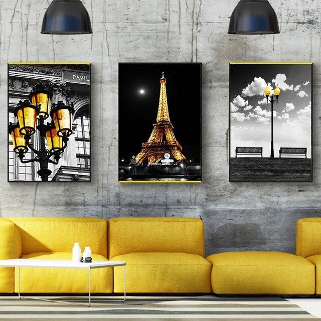 Us 1 91 42 Off Nordic Abstrakte Leinwand Kunstdruck Hd Poster Wand Bild Paris Turm Strasse Lampe Gemalde Vintage Wohnzimmer Dekoration In Nordic