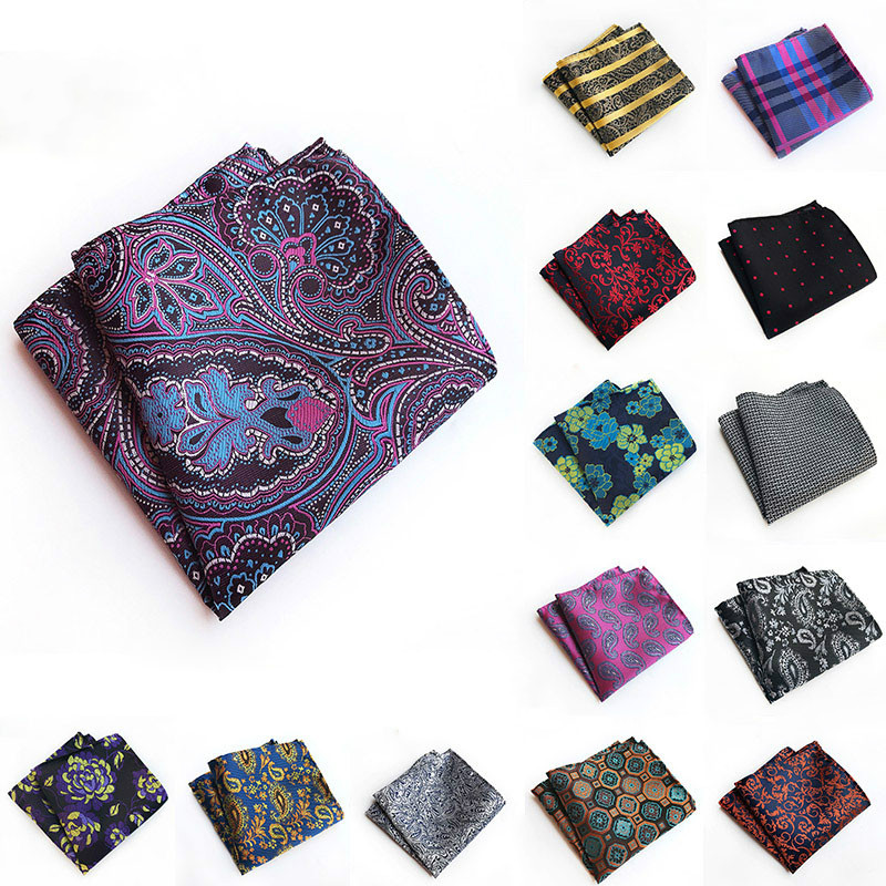 Fashion 25*25cm Men's Pocket Square 100% Silk Hankerchief Korean Paisley Dot Floral Hanky Wedding Party Gift Paisley Design
