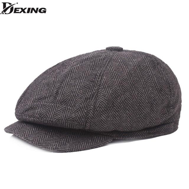 Homens boina Espinha de peixe do vintage Tweed Gatsby peaky blinders chapéu  Boina primavera Chapéu Jornaleiro c2ec782d5e9