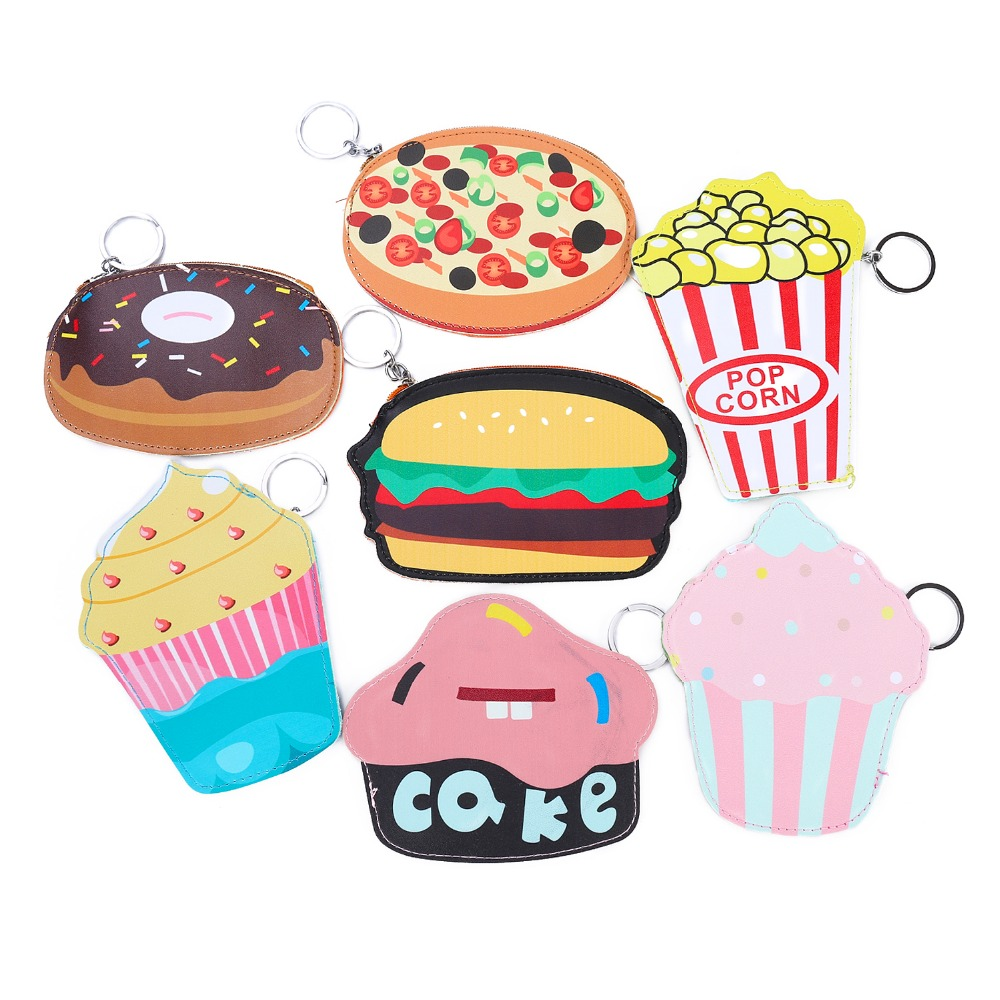 Kawaii Food Style Women Coin Purse Keyring Change Bag Cake, Hamburger, Pizza, Donut Pouch Cartoon Women Clutch Small Wallet