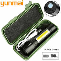 yunmai 1517 2000lm Built In Batttery Mini Flashlight Q5 & Cob Led Zoom Aluminum 4 Modes Torch Rechargeable Lantern Flashlight