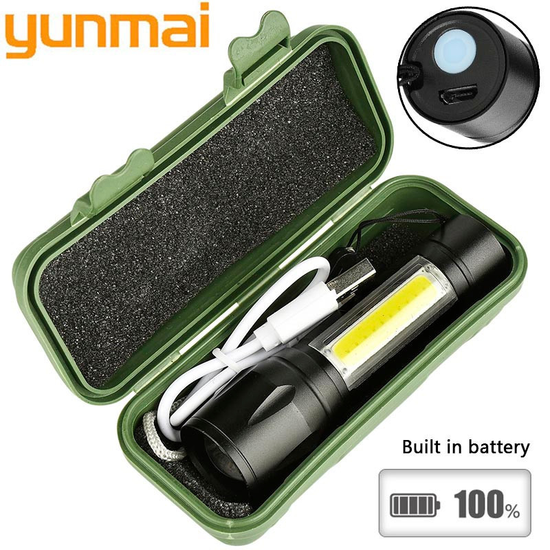 Yunmai 1517 2000lm Built In Batttery Mini Flashlight Q5 & Cob Led Zoom Aluminum 4 Modes Torch Rechargeable Lantern Flashlight