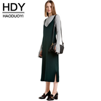 HDY Haoduoyi Fashion Women Knitted Tank Dress Solid Green Sleeveless Sweater Dresses Casual Side Slit Bodycon