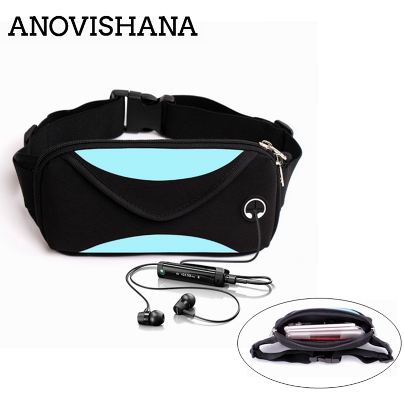 ANOVISHANA 2019 New Waterproof Travel Unisex Waist Pack Women Belt Phone Pouch Headphone Hole Elastic Bags for Outdoor Running