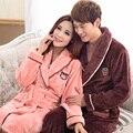 Amantes de invierno bata de franela albornoz pijamas robe mujeres masculinas albornoces engrosamiento de coral polar pijama de terciopelo salón de la ropa