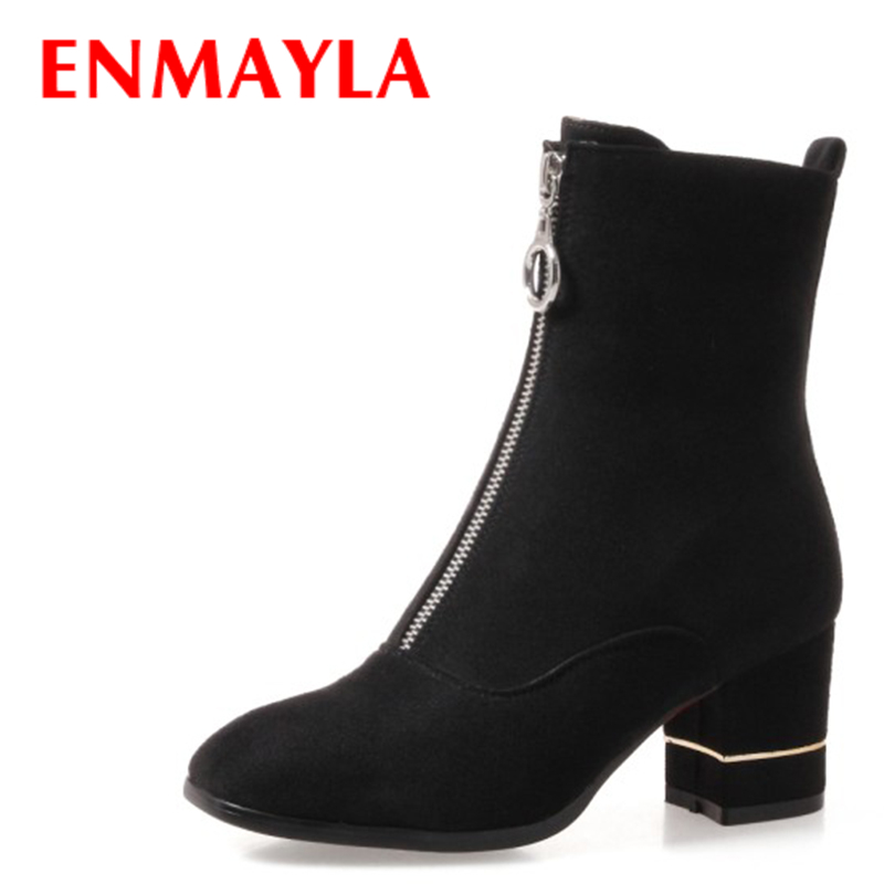 ENMAYLA Fashion Front Zipper Ankle Boots Women Chucky Heels Square Toe High Heels Shoes Woman Black Yellow Suede Autumn Boots enmayla autumn winter chelsea ankle boots for women faux suede square toe high heels shoes woman chunky heels boots khaki black