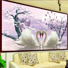 New DIY Diamond Painting With Clock Mosaic Diamond Embroidery Kit Large Modern Living Room Wall Decoration Painting Swan Flower