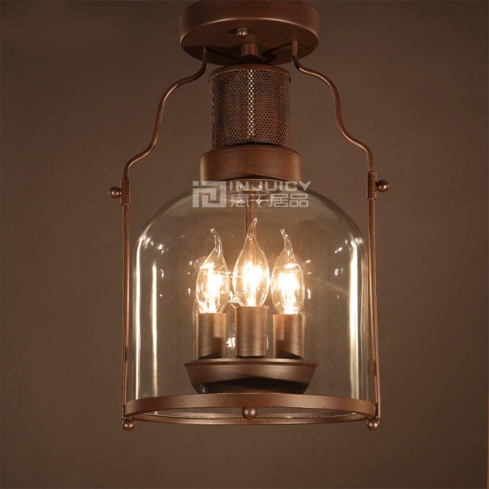 Injuicy Ligthing Loft Vintage Industrial LED Rust Glass Loft Cafe Bar Restaurant Bedroom Ceiling Lamp Light Droplight Decor