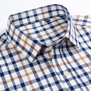 Image 2 - 남성용 발랄한 활력 캐주얼 버튼 다운 체크 무늬 셔츠 싱글 패치 포켓 긴 소매 편안한 스탠다드 피트 코튼 셔츠