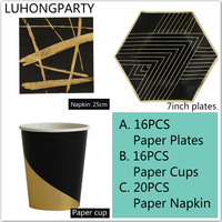 52pcs Foil Gold Stripe Gilded Party Tableware High Quality Paper Plates Cups Napkins Birthday Bridal Shower Party LUHONGPARTY