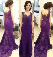 In Fashion Purple Mermaid Evening Dress 2018 Prom Dresses Lace Appliques Long robe de soiree Elegant Woman Formal Wear