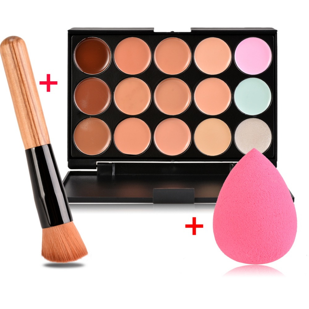 Concealer 15 Color Makeup Palette +Wooden Handle Brush +Puff Face Foundation Bronzer 15 Color Concealer Contour Palette image