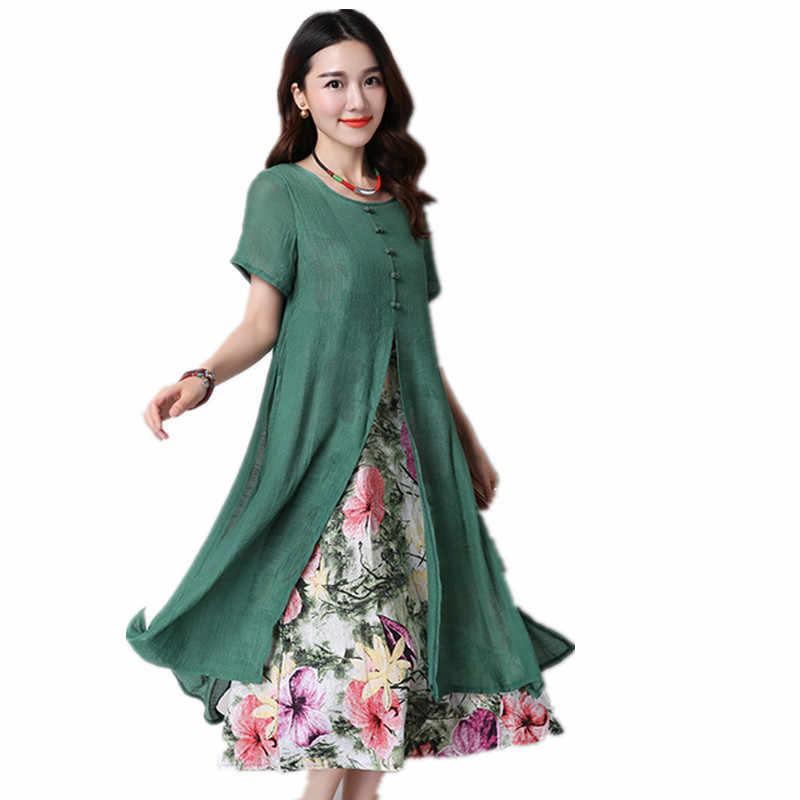 24fb5175bc9 Clobee 2017 длинное платье Винтаж с цветочным принтом женское платье туника  из хлопка и льна короткий