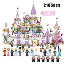 2105pcs 5in1 Princess Castle Carriage Car Building Blocks Compatible With legoingly Friends House Palace Bricks For Children audio technica atr 3350