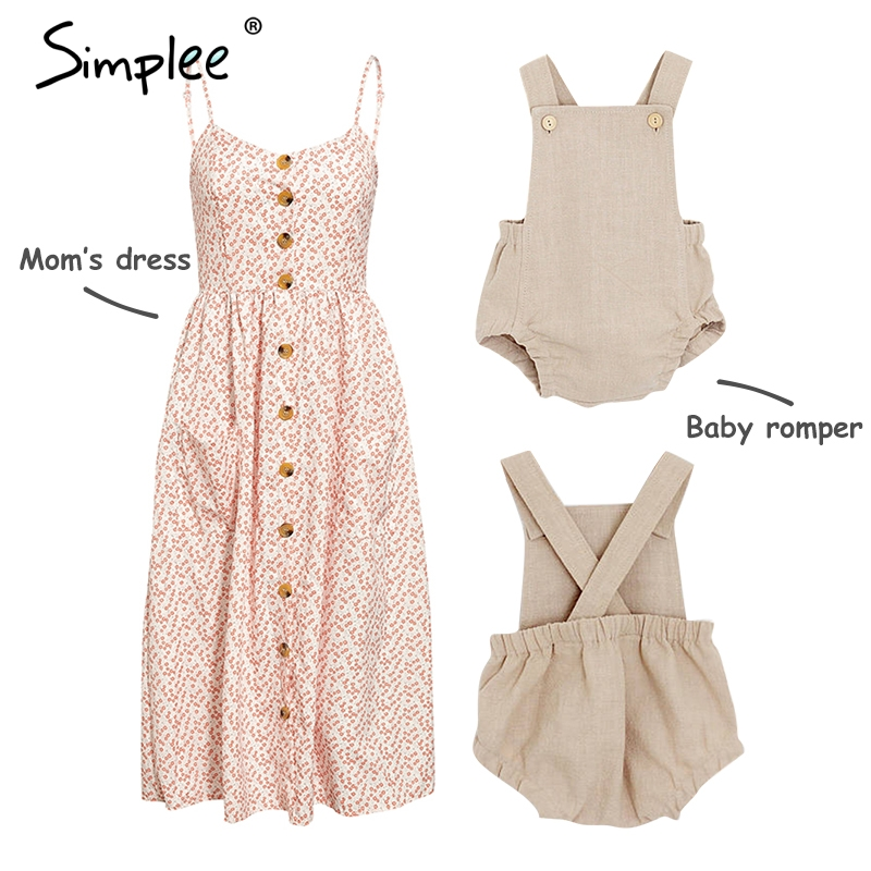 HTB1LyRcca1s3KVjSZFAq6x ZXXaH Mother and kids casual button dress Solid matching mom baby family clothes outfits beach dress Cute baby romper mom summer dress