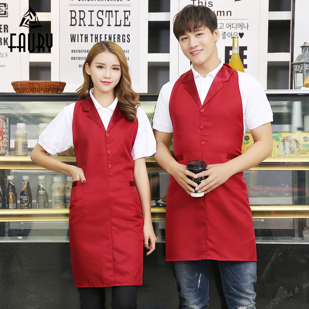 2018 Unisex Chef Aprons Suit Collar Adjustable Neck Waist Hotel Cafe Restaurant Supermarket Waiter Waitress Work Wear Uniforms