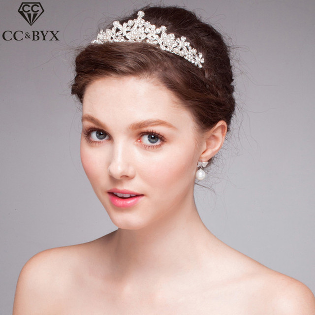 Cc Jewelry Crowns And Tiaras Bridal Crystal Pearl Wedding Hair Accessories For Women Party Beach Headwear
